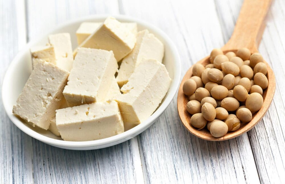 bowl of tofu and soybeans