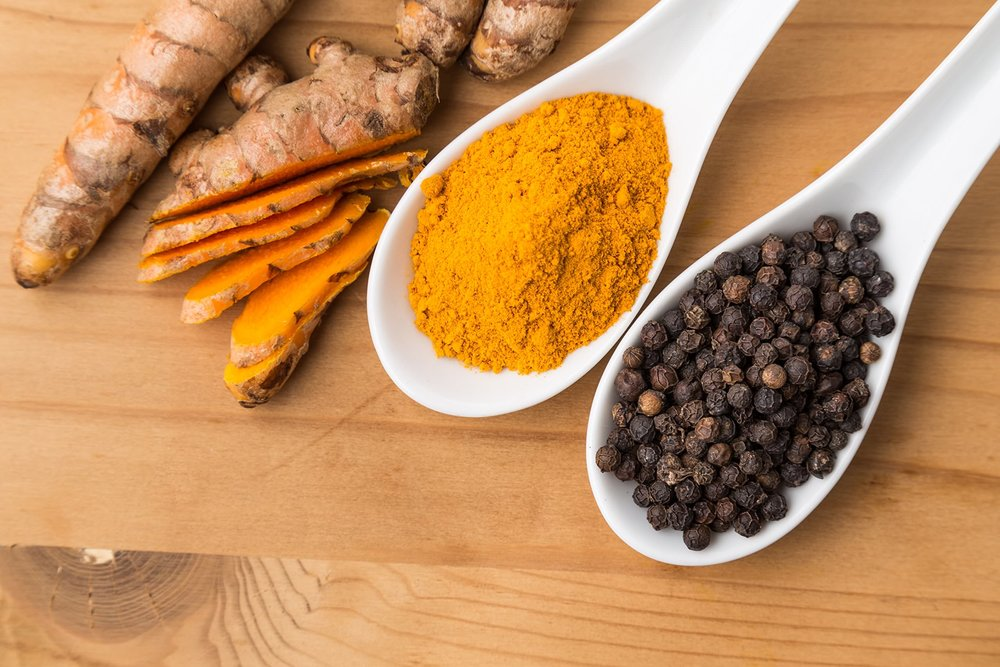 turmeric and peppercorn spices
